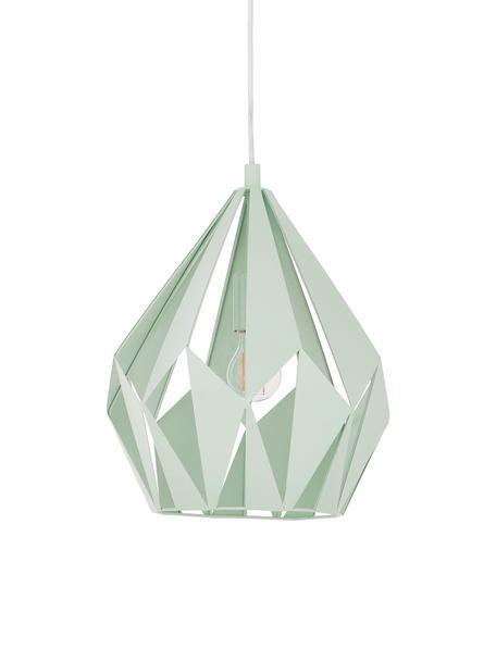 Lámpara de techo Carlton, estilo escandinavo, Pantalla: acero pintado, Anclaje: acero pintado, Cable: plástico, Verde claro, Ø 31 x Al 40 cm