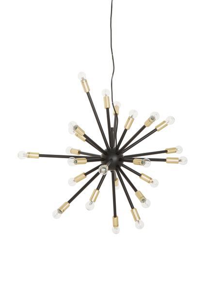 Große Pendelleuchte Spike in Schwarz-Gold, Baldachin: Metall, beschichtet, Lampenschirm: Metall, beschichtet, Schwarz, Goldfarben, Ø 90 cm