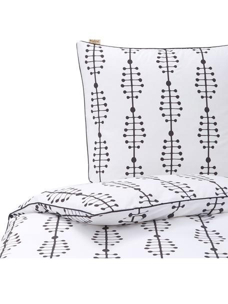 Baumwoll-Bettwäsche Lines and Dashes mit grafischem Muster, Webart: Renforcé Renforcé besteht, Weiß, Anthrazit, 135 x 200 cm + 1 Kissen 80 x 80 cm