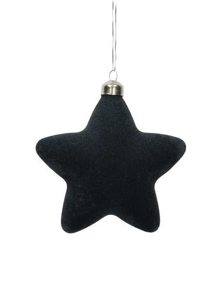 Baumanhänger Star, 4 Stück, Dunkelblau, 12 x 12 cm