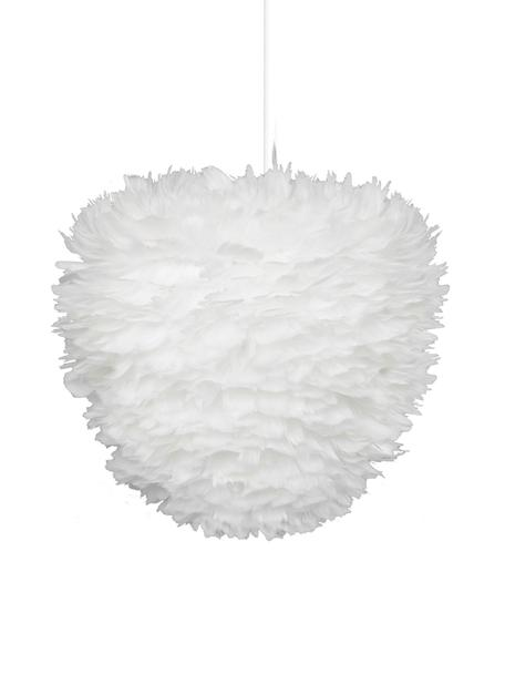 Pendelleuchte Eos Evia aus Federn, Lampenschirm: Gänsefedern, Textil, Baldachin: Kunststoff, Weiss, Ø 40 cm x H 39 cm