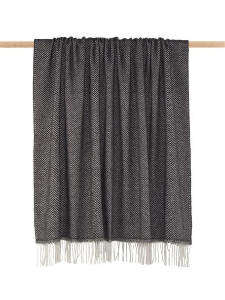 Manta de lana de merino Aubrey, 80%lana merino, 20%nylon, Gris antracita, blanco crudo, An 140 x L 186 cm
