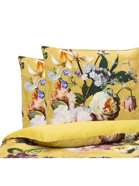 Baumwollsatin-Bettwäsche Fleur mit Blumen-Muster, Webart: Satin Fadendichte 209 TC,, Goldgelb, Mehrfarbig (Weiß, Grün, Rosa), 200 x 200 cm + 2 Kissen 80 x 80 cm