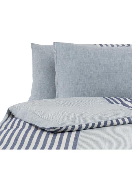 Parure copripiumino in lino Unico, Azzurro, blu scuro, bianco, 250 x 260 cm