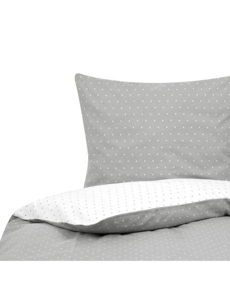 Flanell-Wendebettwäsche Betty, gepunktet, Webart: Flanell Flanell ist ein k, Grau, Weiss, 135 x 200 cm + 1 Kissen 80 x 80 cm