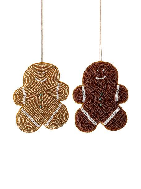 Baumanhänger-Set Cookie, 2-tlg., Glasperlen, Baumwolle, Braun, Goldfarben, Weiss, Gelb, 10 x 13 cm