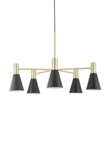 Lámpara de techo Sia, Cable: cubierto en tela, Negro mate, latón cepillado, Ø 75 cm