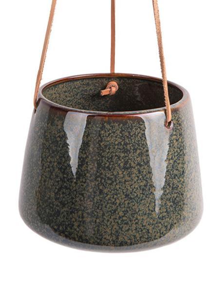 Wisząca osłonka na doniczkę z ceramiki  Unique, Ceramika, Odcienie zielonego, Ø 17 x W 13 cm