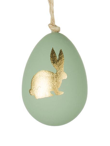 Deko-Anhänger Bunny, 3 Stück, Kunststoff, Grün, Goldfarben, Ø 4 x H 6 cm