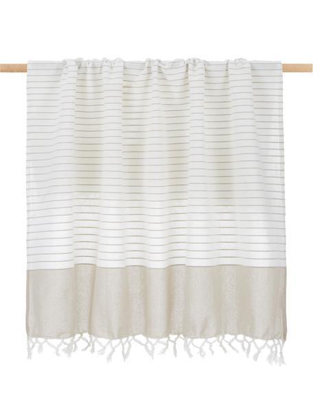 Gestreifte Baumwolldecke Monica mit Fransen, 100% Baumwolle, Beige, Weiss, 125 x 150 cm