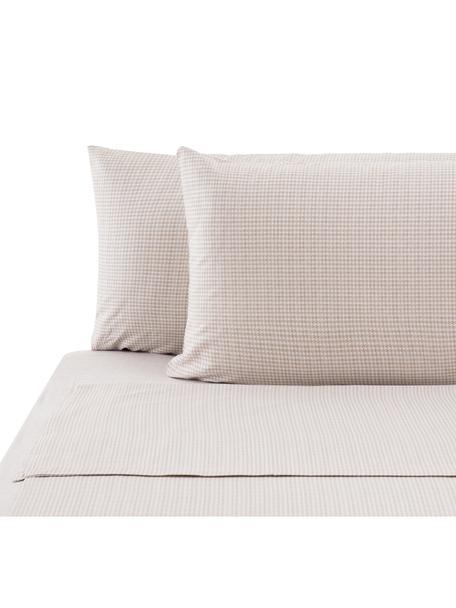 Set lenzuola in cotone ranforce Grady, Tessuto: ranforce, Beige, bianco, 290 x 240 cm
