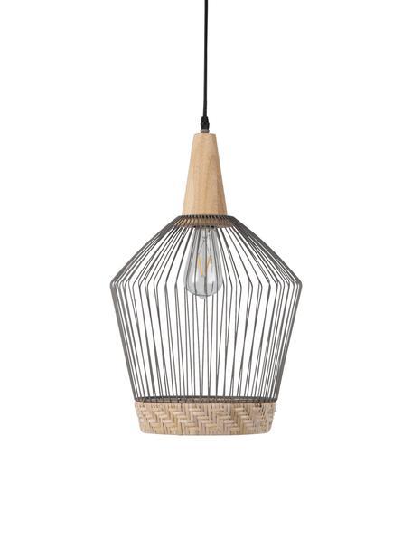 Lámpara de techo Birdy, Pantalla: ratán, metal pintado, Fijación: madera de caucho, Anclaje: metal pintado, Ratán, gris claro, madera, Ø 31 x Al 48 cm