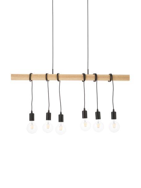 Lámpara de techo grande de madera Townshend, Casquillo: acero, pintado, Anclaje: acero, pintado, Cable: plástico, Negro, madera, An 100 x F 10 cm