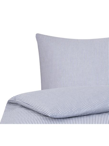 Parure copripiumino in cotone ranforce Ellie, Tessuto: Renforcé, Bianco, blu scuro, 155 x 200 cm
