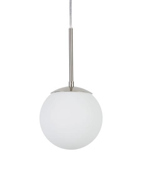 Mała lampa wisząca ze szkła opalowego Cafe, Biały, odcienie srebrnego, Ø 15 x W 29 cm