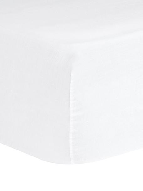 Linnen hoeslaken Nature, 52% linnen, 48% katoen Met stonewash-effect voor een zachte grip, Wit, 90 x 200 cm