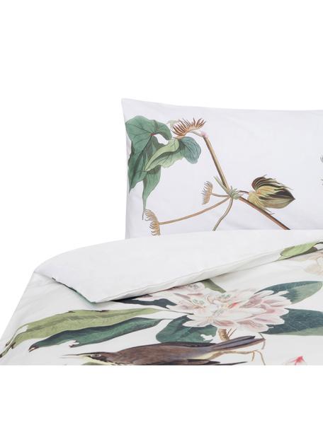 Funda nórdica Blooming, Algodón El algodón da una sensación agradable y suave en la piel, absorbe bien la humedad y es adecuado para personas alérgicas, Blanco, tonos verdes y rosas, Cama 90 cm (155 x 200 cm)