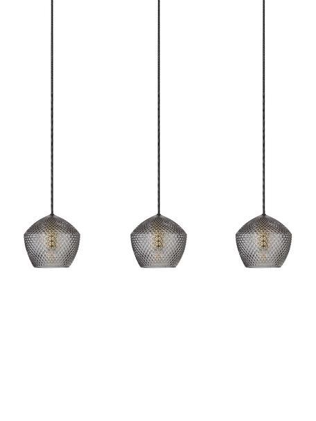 Lámpara de techo de vidrio Orbiform, Pantalla: vidrio, Anclaje: metal recubierto, Cable: cubierto en tela, Latón, gris transparente, An 71 x Al 15 cm