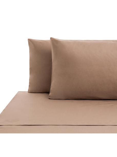 Set lenzuola in cotone ranforce Lenare, Tessuto: Renforcé, Fronte e retro: taupe, 240 x 290 cm