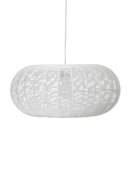 Pendelleuchte Lubino aus Papier, Lampenschirm: Papier, Baldachin: Metall, verchromt, Weiß, Ø 50 x H 23 cm