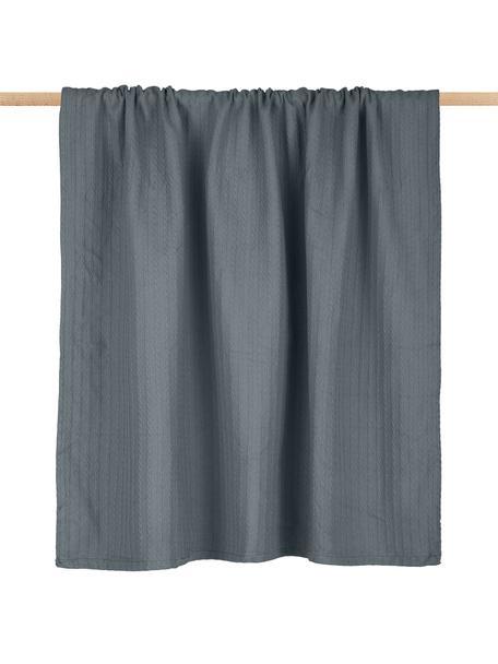 Kleines Plaid Pietro in Grau mit Zopfmuster, 100% Baumwolle, Grau, 125 x 150 cm