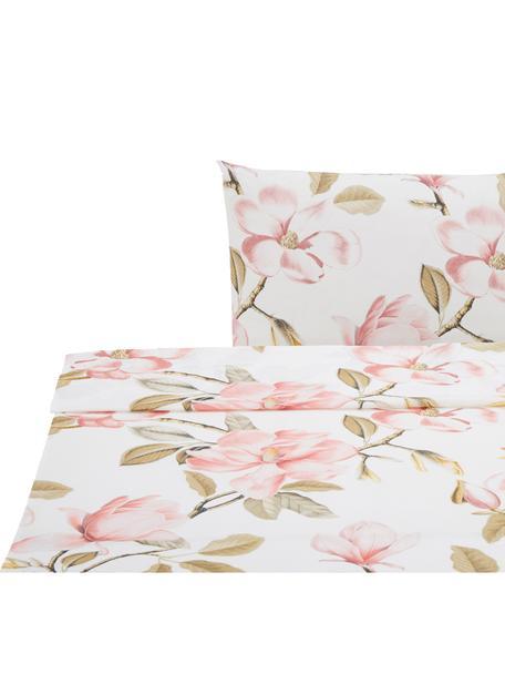 Sábana encimera Magnolia, Algodón, Blanco, tonos verdes y rosas, Cama 90 cm (160 x 270 cm)