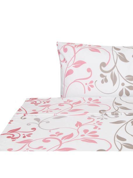 Sábana encimera Mercurio, Algodón, Blanco, tonos rosas, gris verdoso, gris claro, Cama 90 cm (160 x 270 cm)