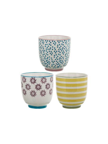 Tazas artesanales pequeñas Patrizia, 3uds., Gres, Blanco, azul, rojo, amarillo, Ø 7 x Al 7 cm