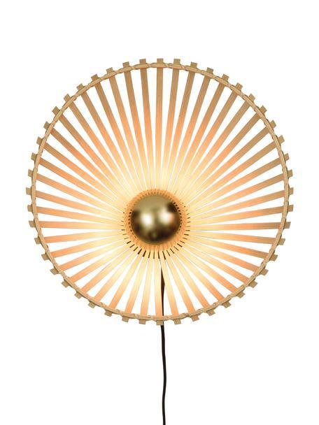 Aplique Bromo, con enchufe, Pantalla: bambú, Cable: cubierto en tela, Beige, negro, Ø 40 x Al 40 cm