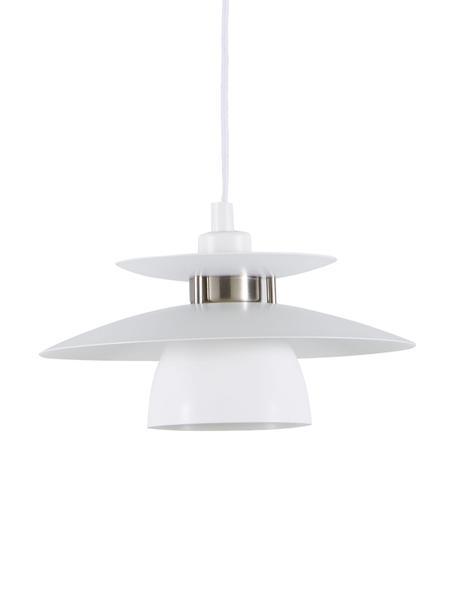 Lámpara de techo pequeña Brenda, Pantalla: metal pintado, Casquillo: metal pintado, Anclaje: metal pintado, Cable: cubierto en tela, Blanco, Ø 32 x Al 19 cm