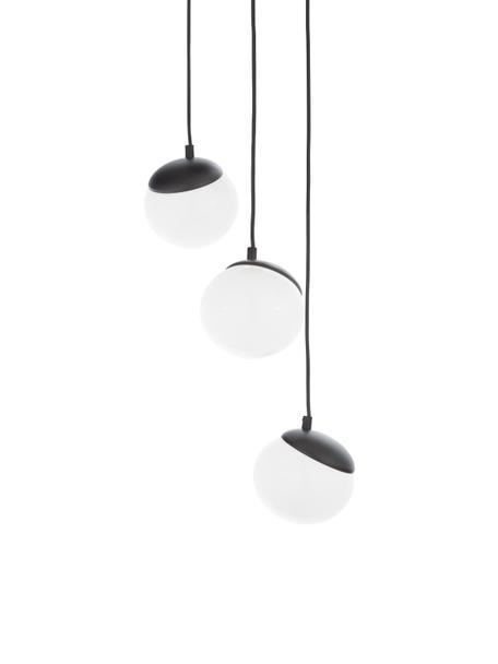 Cluster-Pendelleuchte Sfera aus Opalglas, Lampenschirm: Opalglas, Dekor: Metall, lackiert, Baldachin: Metall, lackiert, Schwarz, Opalweiss, Ø 35 cm