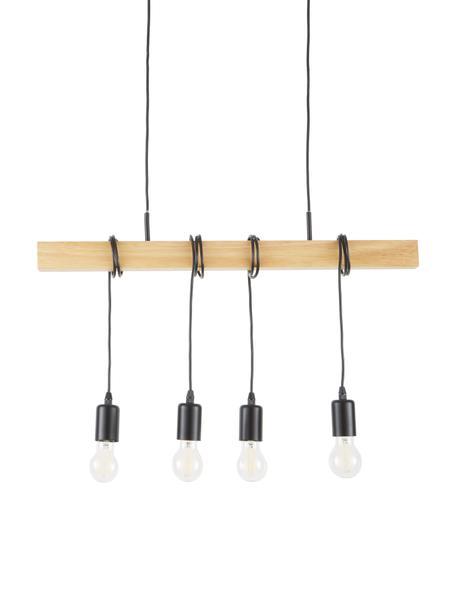 Hanglamp Townshend van hout, Zwart, houtkleurig, 70 x 25 cm