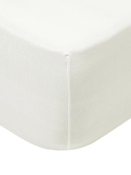 Sábana bajera de jersey con elastano Lara, 95%algodón, 5%elastano, Crema, Cama 90 cm (90-100 x 200 cm)