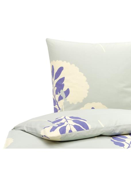 Pościel z bawełny Romantic Leaves, Szaroniebieski, kremowy, niebieski idygo, 135 x 200 cm + 1 poduszka 80 x 80 cm