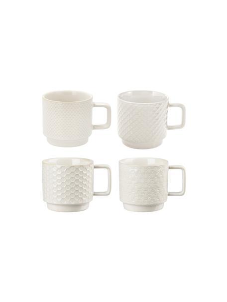 Espressokopjes met patroon Lara, 4-delig, Keramiek, Gebroken wit, Ø 6 x H 6 cm