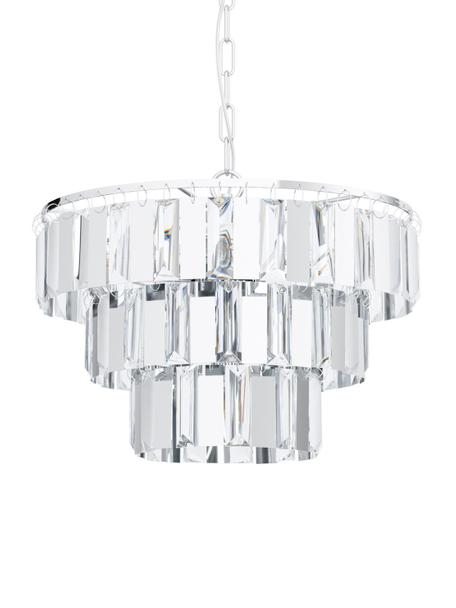 Kronleuchter Erseka aus Kristallglas, Lampenschirm: Kristallglas, Baldachin: Stahl, Transparent, Chrom, Ø 39 cm