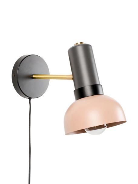 Wandlamp Charlie met stekker, Lampenkap: gecoat metaal, Decoratie: gecoat metaal, Grijs, roze, 15 x 21 cm
