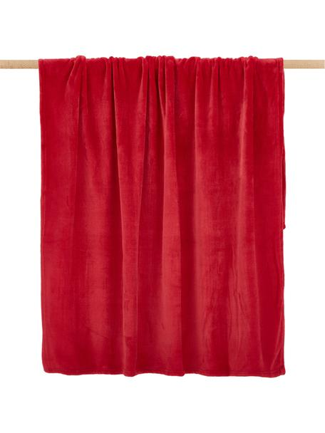 Weiches Fleece-Plaid Doudou in Rot, Polyester, Rot, 130 x 160 cm