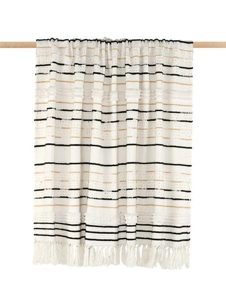Baumwolldecke Lena mit Strukturmuster und Pailletten, Plaid: 100% Baumwolle, Gebrochenes Weiß, Schwarz, Hellbeige, 130 x 170 cm