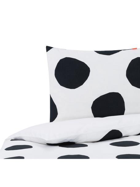 Dubbelzijdig dekbedovertrek Dot, Katoen, Bovenzijde: wit, zwart. Onderzijde: wit, 140 x 200 cm