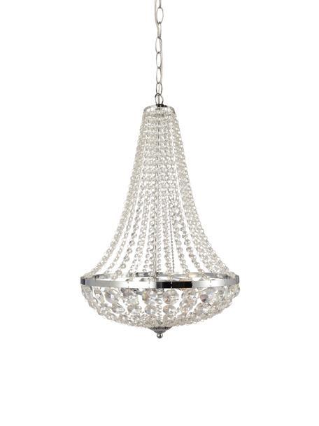 Lámpara de araña grande Gränsö, Adornos: plástico, Cromo, transparente, Ø 40 x Al 59 cm