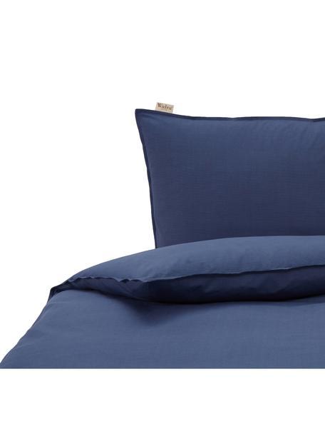 Renforcé dekbedovertrek Soft Structure met zeer fijn patroon, Weeftechniek: renforcé, Donkerblauw, 140 x 220 cm