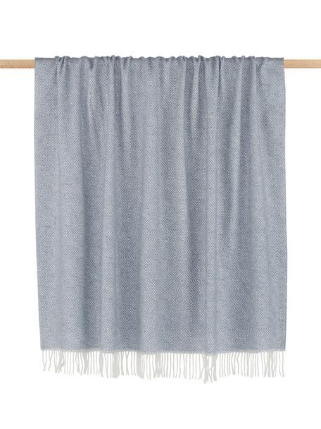 Wolldecke Alison mit feinem grafischem Muster, 80% Merinowolle, 20% Nylon, Graublau, Gebrochenes Weiss, 140 x 200 cm