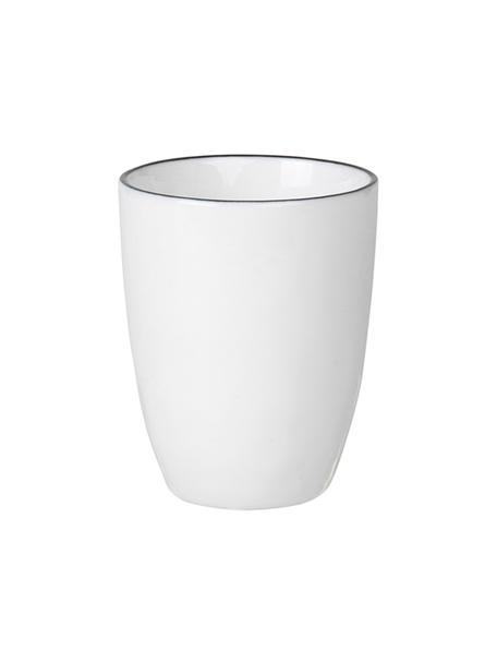 Handgemaakte espressobekers Salt, 4 stuks, Porselein, Gebroken wit, zwart, Ø 6 x H 8 cm