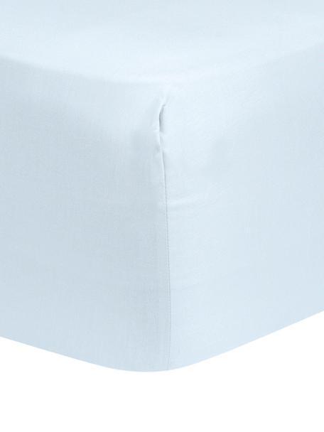 Lenzuolo con angoli in raso di cotone blu chiaro Comfort, Azzurro, Larg. 90 x Lung. 200 cm