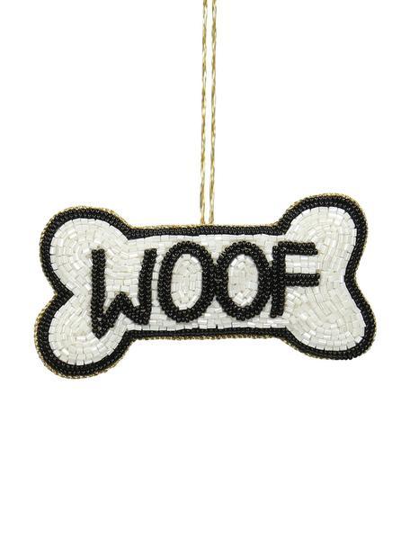 Baumanhänger Woof, 2 Stück, Weiss, Schwarz, 11 x 6 cm
