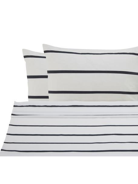 Set lenzuola in cotone ranforce Blush, Tessuto: ranforce, Bianco, nero, rosa, 240 x 270 cm