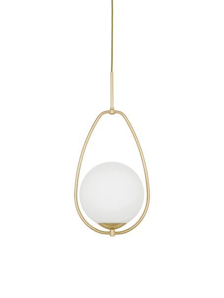 Kleine Pendelleuchte Avalon aus Opalglas, Lampenschirm: Glas, Baldachin: Metall, lackiert, Weiss, Goldfarben, Ø 23 cm x H 51 cm