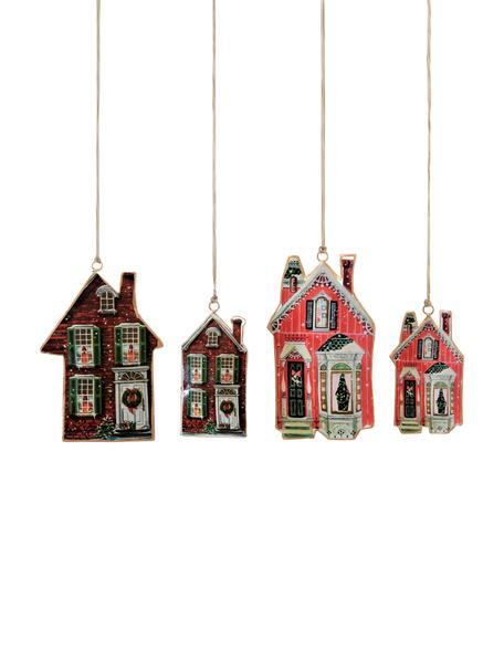 Baumanhänger-Set Houses, 4-tlg., Metall, Braun, Rot, Set mit verschiedenen Grössen