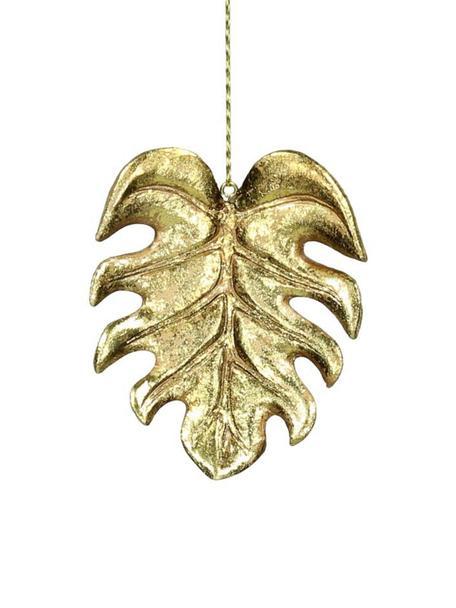 Baumanhänger Monstera, 4 Stück, Polyresin, Goldfarben, 7 x 9 cm